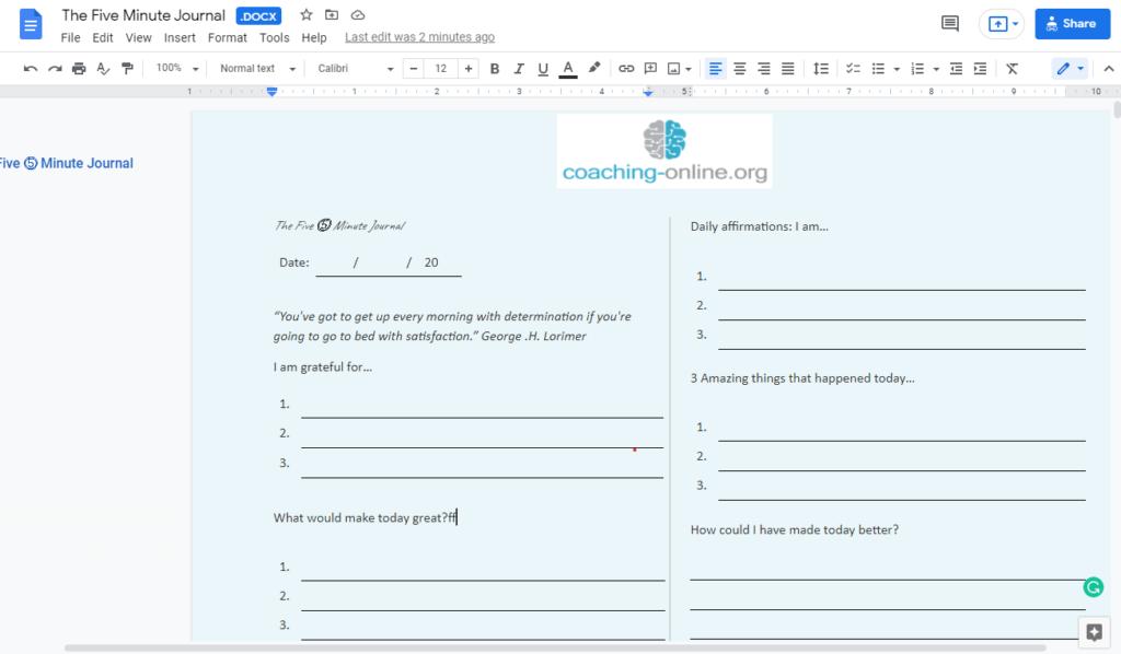 Google Docs Journal Template